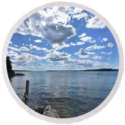 Outhaul On An Island In Casco Bay Maine  Round Beach Towel