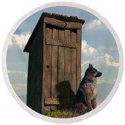 Outhouse Guardian - German Shepherd Version Round Beach Towel