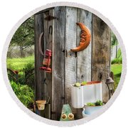 Outhouse In The Garden Round Beach Towel