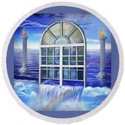 Outpouring Round Beach Towel