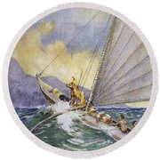 Outrigger At Sea Round Beach Towel