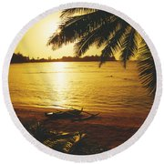 Outrigger At Sunset Round Beach Towel