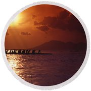 Outrigger Canoe At Sunset Round Beach Towel