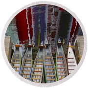 Outrigger Canoe Boats And Water Reflection Round Beach Towel by Ben and Raisa Gertsberg