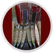 Outrigger Canoe Boats And Water Reflection Round Beach Towel