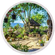 Outside Chiang Dao Coffee Shop  Round Beach Towel