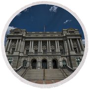Outside The Library Of Congress Round Beach Towel