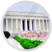 Outside The Lincoln Memorial Round Beach Towel