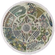 Outside The Mandala Round Beach Towel