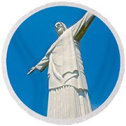 Outstretched Arms Of Christ The Redeemer Icon On Corcovado Mountain In Rio De Janeiro-brazil  Round Beach Towel