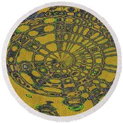 Oval Abstract Maple Leaf  Round Beach Towel