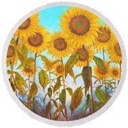 Ovation Sunflowers Round Beach Towel