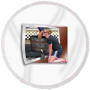 Over A Barrel Round Beach Towel