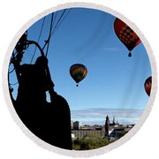 Over Auburn And Lewiston Hot Air Balloons Round Beach Towel