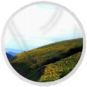 Over Hill And Dale Round Beach Towel