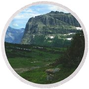 Over Logan's Pass Round Beach Towel