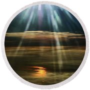 Over Rivers Of Gold Round Beach Towel