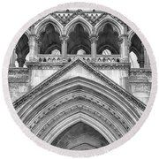 Over The Entrance To The Royal Courts  Round Beach Towel