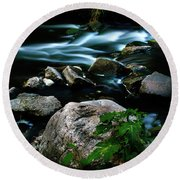Over The Falls Round Beach Towel