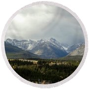 Over The Fence To Dusted Mountains Round Beach Towel