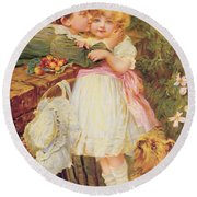 Over The Garden Wall Round Beach Towel by Frederick Morgan