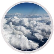 Over The Heavenly Clouds Round Beach Towel