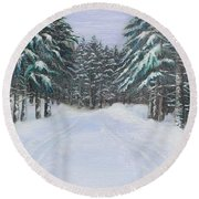Snow Tracks Round Beach Towel