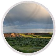Over The Land Round Beach Towel