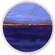 Over The Line Blue Round Beach Towel