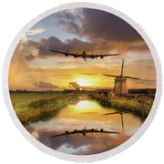 Over The Mills Round Beach Towel