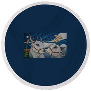 Over The Moon Round Beach Towel
