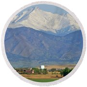 Over The Mountains Round Beach Towel