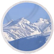 Over The Rockies Round Beach Towel