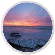 Over The Rocks Round Beach Towel