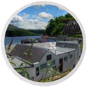 Over The Rooftops At Portree Round Beach Towel