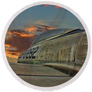 Over The Shoulder F-84g Round Beach Towel