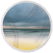 Overcast And Softly Beautiful Morning Seascape Round Beach Towel