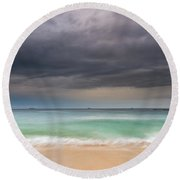 Overcast Morning At The Seaside Round Beach Towel