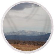 Overcast On The Sandias Round Beach Towel