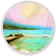 Overcast Sunset At Napoopoo Beach Park Round Beach Towel