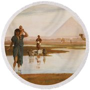Overflow Of The Nile Round Beach Towel by Frederick Goodall