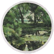 Overgrown Pond Round Beach Towel