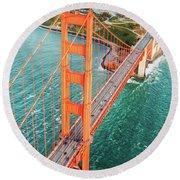 Overhead Aerial Of Golden Gate Bridge, San Francisco, Usa Round Beach Towel