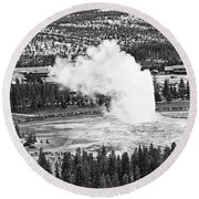 Overhead View Of Old Faithful Erupting. Round Beach Towel