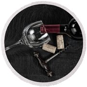 Overhead View Of Vintage Corkscrew With Red Wine Bottle And Glas Round Beach Towel
