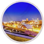 Overlooking Riverfront Round Beach Towel