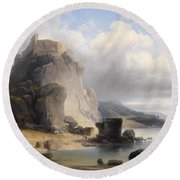 overlooking the castle ruins Devin Round Beach Towel