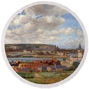 Overlooking The Town Of Dieppe Round Beach Towel