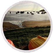 Overturned Boats On Shore Of Harbor Round Beach Towel