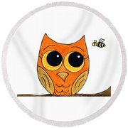Owl And Bee Round Beach Towel